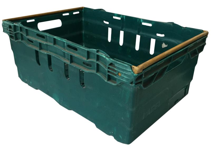 Caja polipropileno verde apilable usada 60 x 40 x 26 cm - Cajas de polipropileno ...